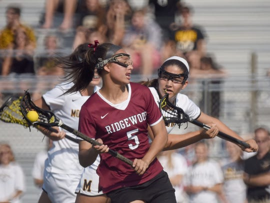 Ridgewood (5) Jackie Wolak holds the ball in the 2018 Tournament of Champions final, won by Moorestown.