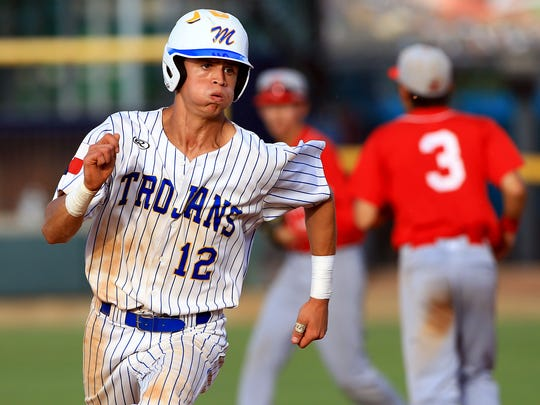 Moody's Roy Sandoval runs to third base against Ray during game 2 of the Region IV-5A finals Friday, June 2 ,2017, at Whataburger Field in Corpus Christi.