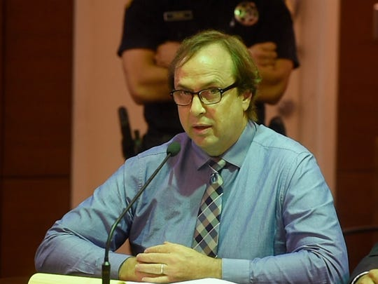 In this October 2017 file photo, convicted former University of Guam Professor Michael Ehlert speaks during his sentencing hearing at the Superior Court of Guam. A judge this week denied Ehlert's petition to have him reinstated at the university.