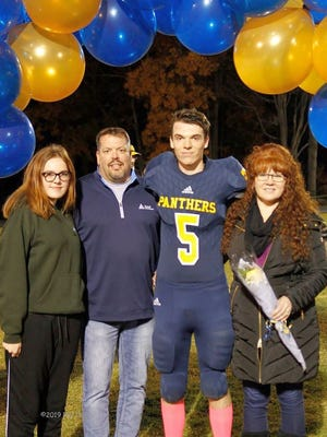 Quabbin Regional senior Evyn Pryzpek (5) joined the Panthers football team as a senior and quickly established himself as a key member and blocker on the team's goal line and short yardage packages.