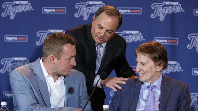 Tigers GM Al Avila introduces Jordan Zimmermann to owner Mike Ilitch before a news conference at Comerica Park on Nov. 30, 2015.