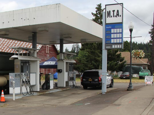 The former MTA gas station in Turner is being used as the site to distribute free potable drinking water to residents.