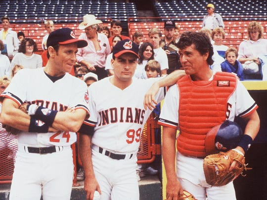 "Corbin Bernsen (from left), Charlie Sheen and Tom Berenger star in ""Major League."" The 1989 baseball comedy was about a ragtag Cleveland Indians team, but the movie was shot mainly in Milwaukee, with County Stadium (in the background) standing in for Cleveland's Municipal Stadium."