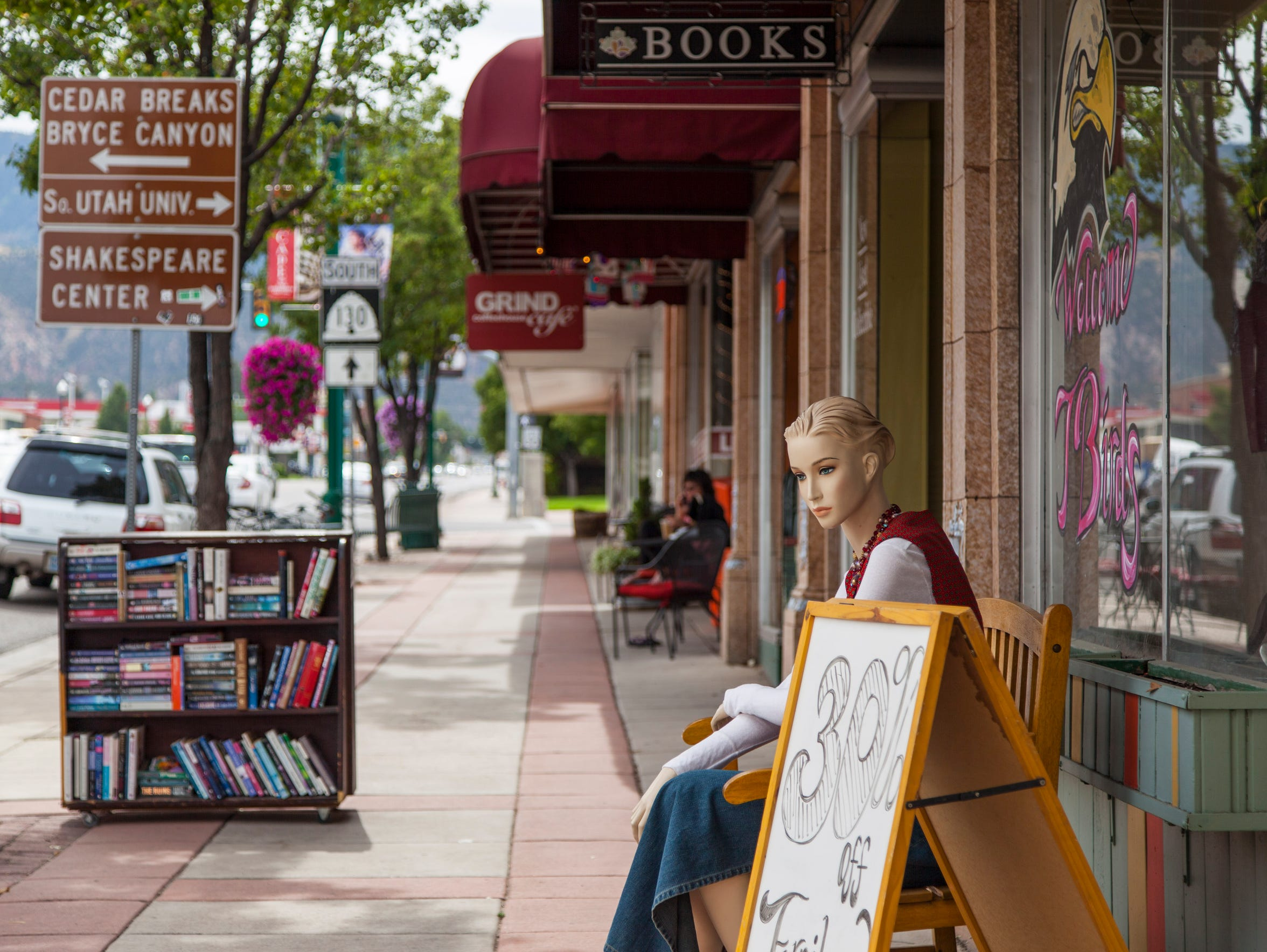 The west sidewalk on Cedar City's Main St. located