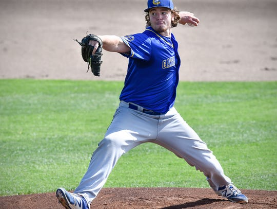 Cathedral's Sam Hanson pitches in the first inning