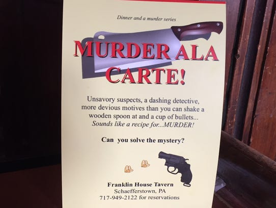 An advertisement for Murder Ala Carte, a murder mystery