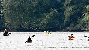 """""""Athletes compete in the third annual Susquehanna Gateway Flatwater Challenge on the Susquehanna River in Airville, Pa. on Saturday, July 18, 2015. Dawn J. Sagert - dsagert@yorkdispatch.com"""""""