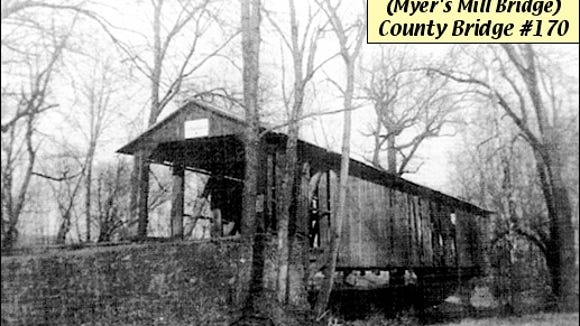 Myer's Mill Covered Bridge over Codorus Creek between Springettsbury and Manchester Townships (1949 Photo from Collections of York County History Center)