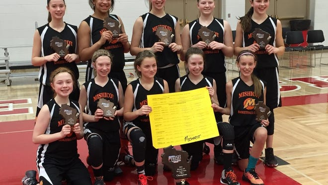 The Mishicot seventh-grade girls basketball club team participated in the Wisconsin State Invitational Championship Tournament in April. Pictured is, front row, from left: Maddie Willems, Taylor Weger, Abby Garceau, Kally Krueger, and Hilary Schadrie; back row: Payge Krogh, Valentina Stueck, Kylie Schmidt, Savannah VanEss and Desiree Kleiman.