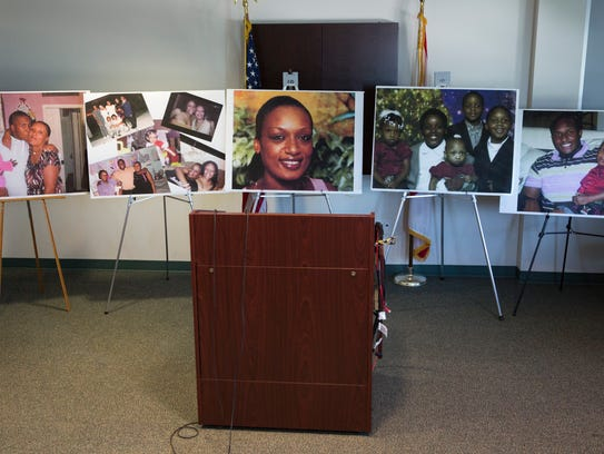 "Photos are displayed, showing Guerline Dieu Damas, center, and her five children -- Meshach ""Zack,"" 9; Maven, 6; Marven, 5; Megan, 3; and Morgan, 19 months. All of them were killed in September 2009 in their North Naples home. Mesac Damas pleaded guilty to murdering his wife and five children and was sentenced Friday, Oct. 27, 2017, to death."