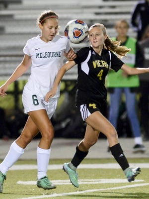 Melbourne's Lauren Bowden (6) and Mollie Roe of Viera contend for the ball during Tuesday's Class 4A regional semifinal.