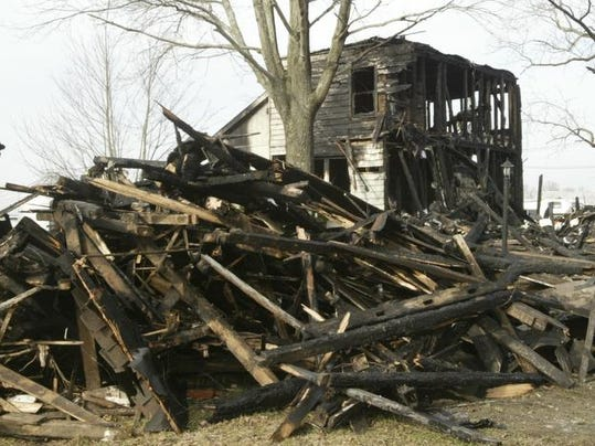The site of a fatal fire in Upper Freehold Township Thursday night.