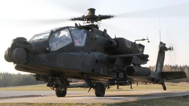 An AH-64 Apache assigned with the U.S. Army Europe's 12th Combat Aviation Brigade prepares for departure during a March 28 exercise. Gen. Frank Grass, the National Guard's top general, appeared resigned to a plan that moves all of the branch's AH-64 Apache helicopters into the active Army.