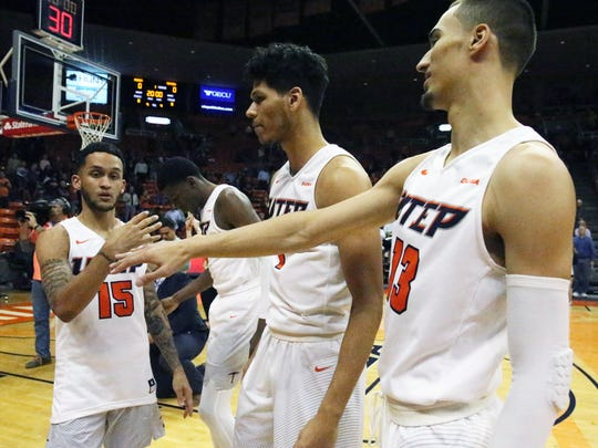 The UTEP men's basketball starting five are introduced at the start of their game with Western Kentucky Thursday night.