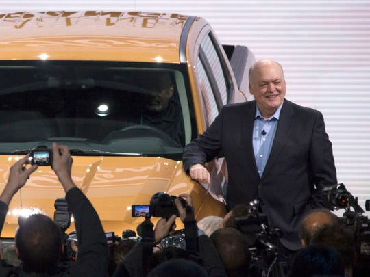 Jim Hackett, President and CEO of Ford Motor Company, with the 2019 Ford Ranger at the North American International Auto Show at Cobo Center in Detroit on Sunday, Jan. 14, 2018.