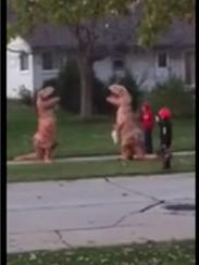 The two identical dinosaurs had a brief confrontation