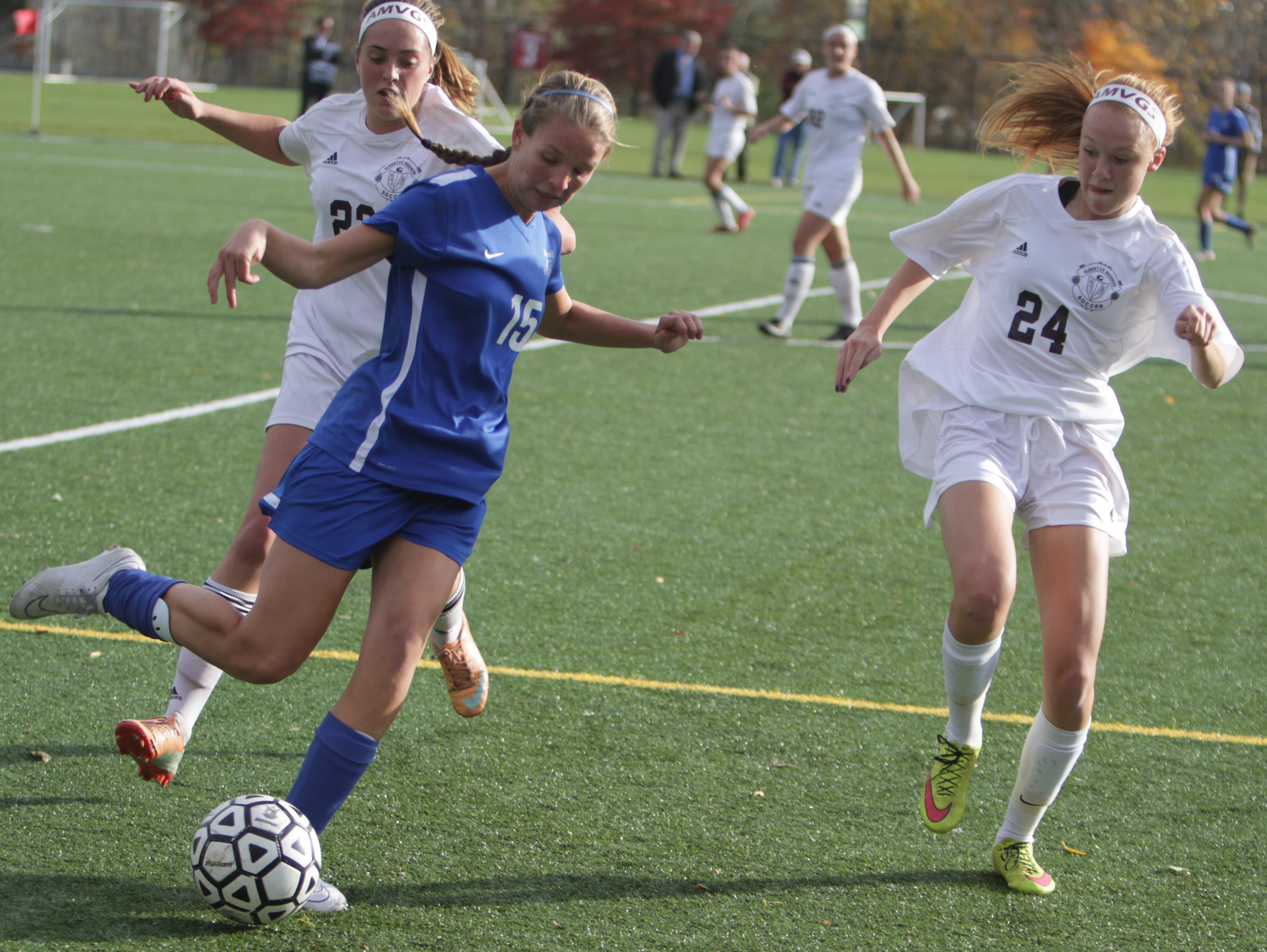 Albertus Magnus defeated Bronxville 1-0 in a Section 1, Class B semifinal game at the Orangetown Soccer Field Complex on Thursday, October 29th, 2015.