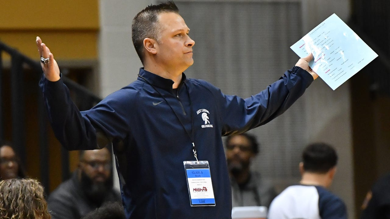 Hear East Lansing girls basketball coach Rob Smith talk about his team's journey following a state finals loss to Saginaw Heritage on March 17, 2018.
