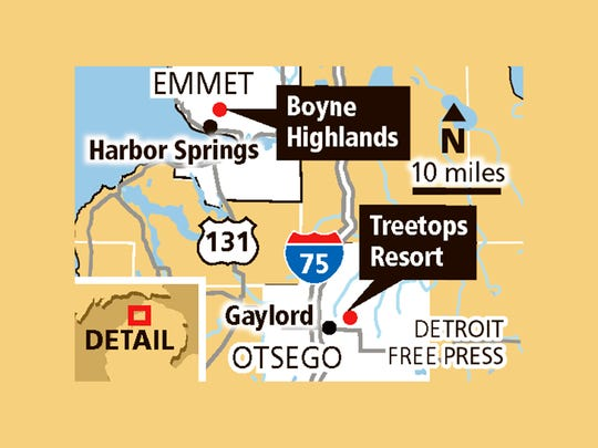 The location of Boyne Highlands and Treetops Resort.