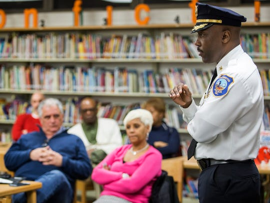 Wilmington Police Chief Bobby Cummings speaks at the Cool Spring Neighborhood Association meeting at Lewis Dual Language Elementary School on Tuesday night.