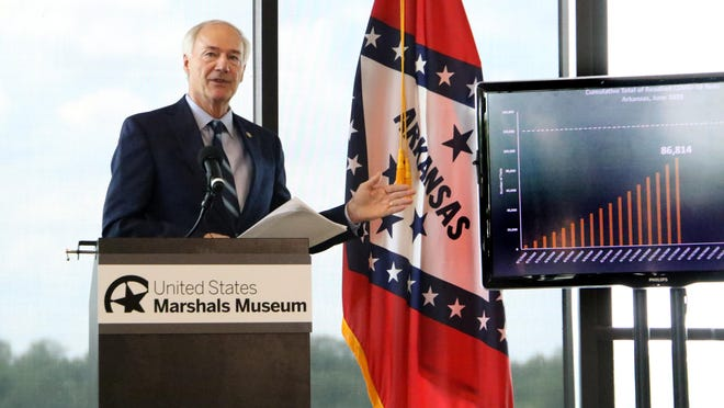 Gov. Asa Hutchinson speaks to reporters in June at the U.S. Marshals Museum in Fort Smith. The governor recently issued an executive order that allows Arkansans to vote absentee if they are concerned voting in person may be a risk to their health or the health of others because of COVID-19.