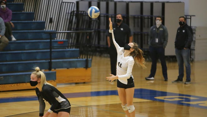 West Ottawa's Danielle Perkins serves against Grand Haven on Friday in Grand Haven.