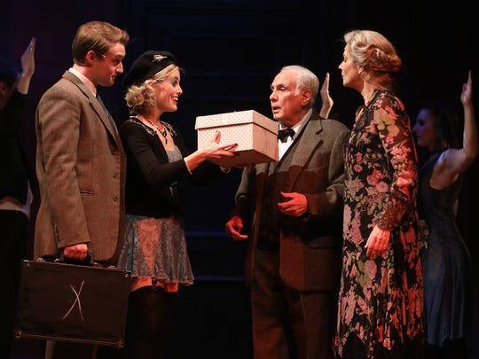 "UD grad Carl Pariso (Clifford Bradshaw), Bailey McCall Thomas (Sally Bowles), Fred Frabotta (Herr Schultz), and Audrey Federici (Fräulein Schneider) in ""Cabaret,"" running this week at the Playhouse."