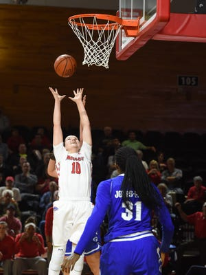 Marist College's Maura Fitzpatrick reaches for a rebound during the team's home game against Seton Hall on Nov. 15.