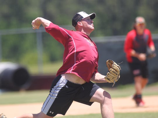 Wakulla alum and current Thomas University pitcher Chance Carter throws during a practice at Chiles for summer league team Tallahassee Post 13.