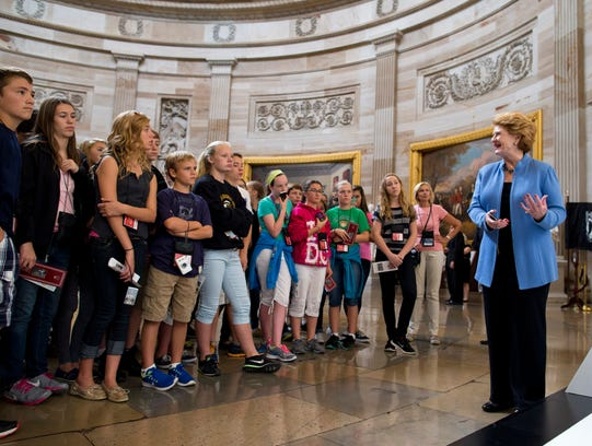 Shutdown -- Stabenow with students
