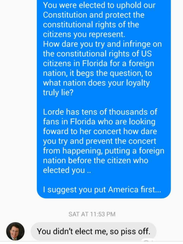 Alice Carpenter shared this screen shot of her Facebook conversation with state Rep. Randy Fine, R-Brevard County, on the BrevardDems Discussion Facebook group.