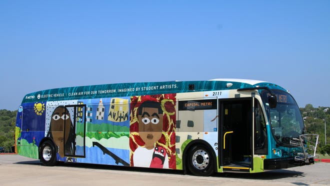 A 40-foot electric bus is part of Capital Metro's growing fleet of electric vehicles.