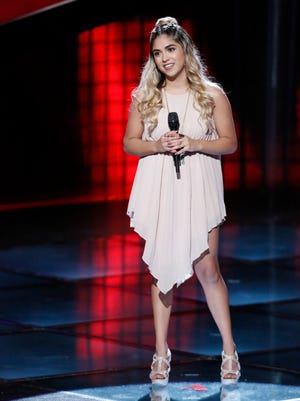 """Sophia Bollman performs during blind auditions of """"The Voice."""""""