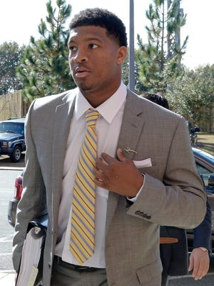 Jameis Winston arrives for his code of conduct hearing at Florida State.