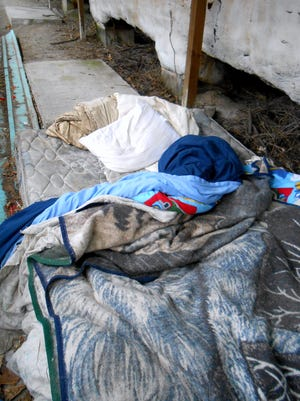 Homeless people leave behind remnants of their existence in the Elmira area.