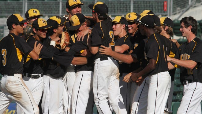 Bishop Verot celebrates after defeating Miami Gulliver Prep during the class 4A state semifinals at JetBlue Park on Monday.