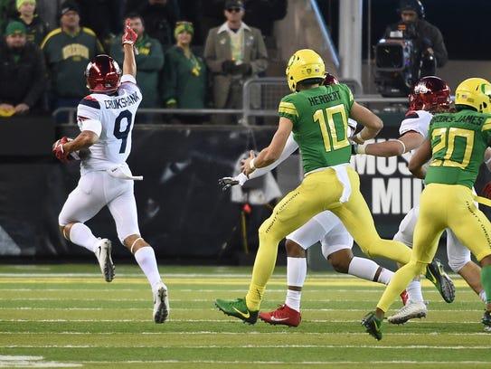 Arizona defensive back Dane Cruikshank of the Arizona