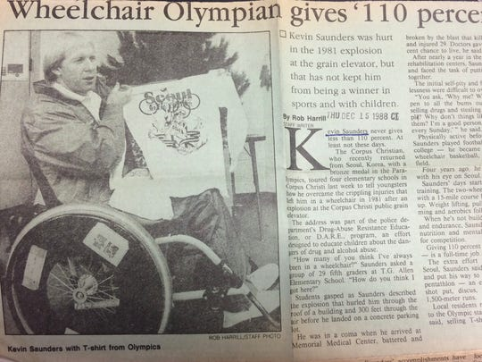 Kevin Saunders shows off a t-shirt from the Seoul Paralympic Games in a 1988 article in the Corpus Christi Caller-Times.