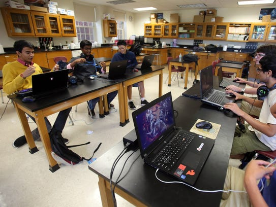 Members of Scarsdale High School's eSports Club plays