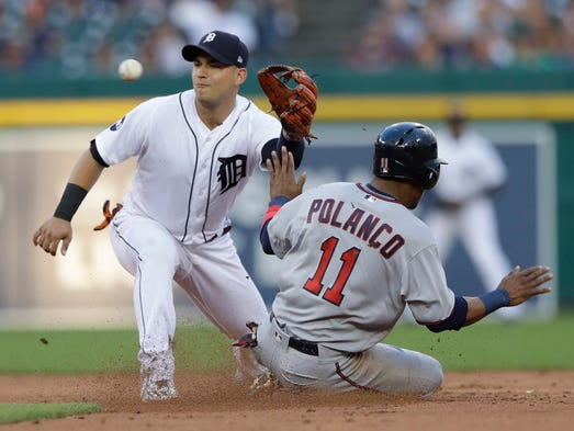 Detroit Tigers shortstop Jose Iglesias waits on the