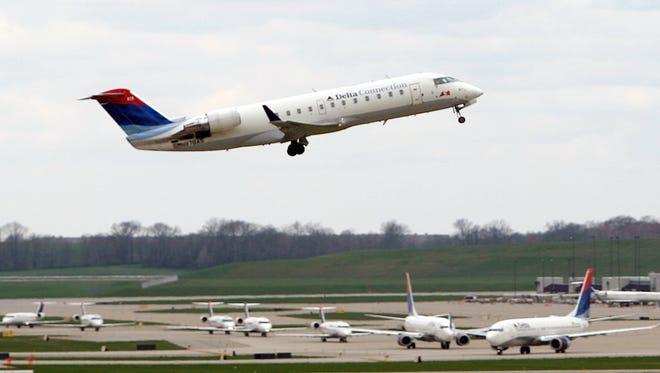 A Delta jet takes off from Cincinnati-Northern Kentucky International Airport.