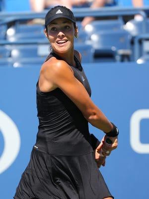 Ana Ivanovic (SRB) returns a shot to Karolina Pliskova (CZE) on Armstrong Stadium on day four of the 2014 U.S. Open tennis tournament at USTA Billie Jean King National Tennis Center.