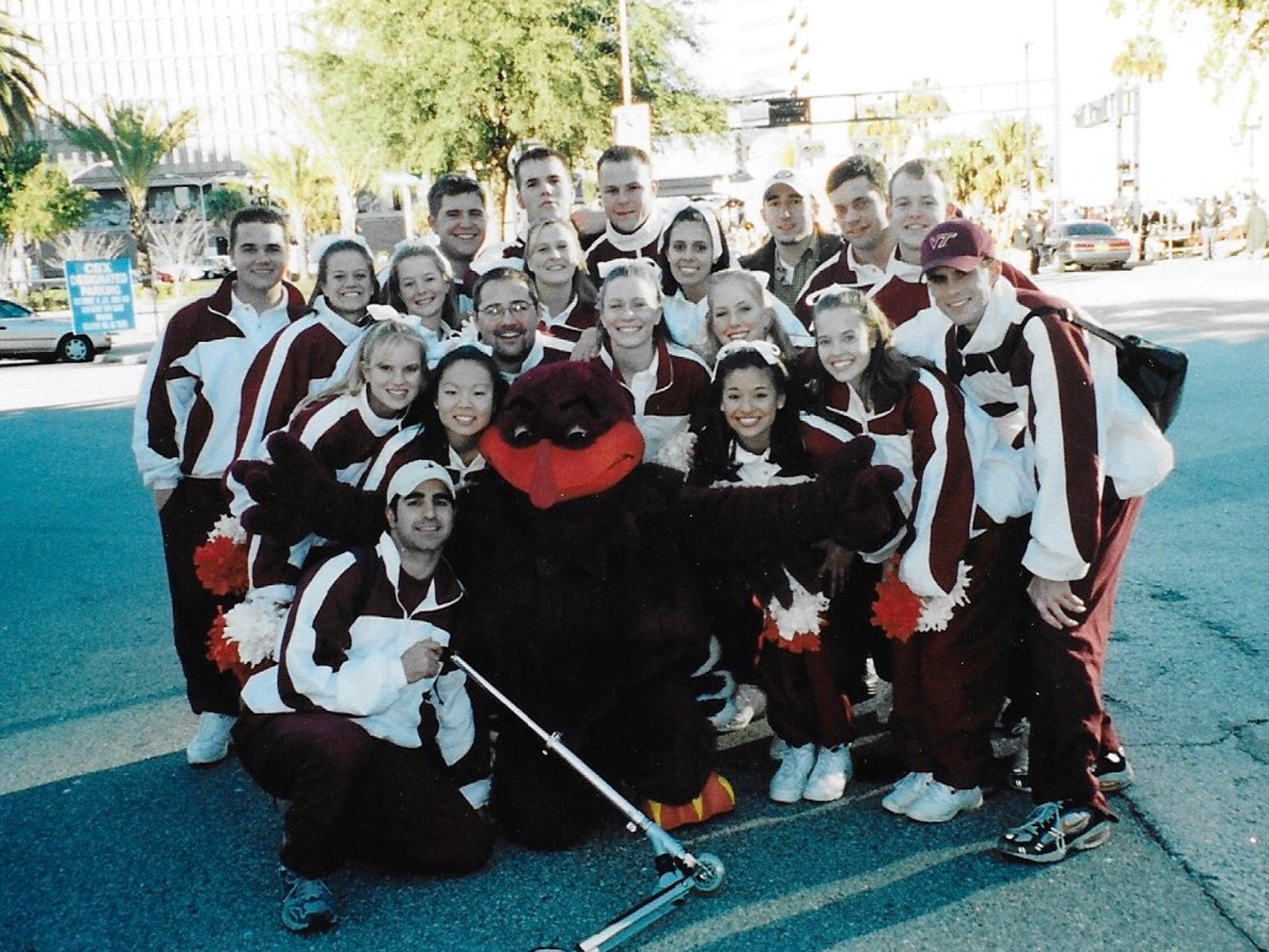 Corey Campbell in the Hokie Bird costume along with the Virginia Tech cheerleaders before the 1998 Gator Bowl in Jacksonville Florida.