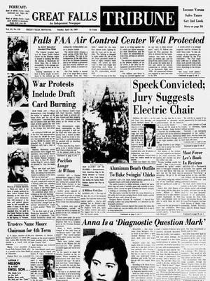 Front page of the Great Falls Tribune on Sunday, April 16, 1967.