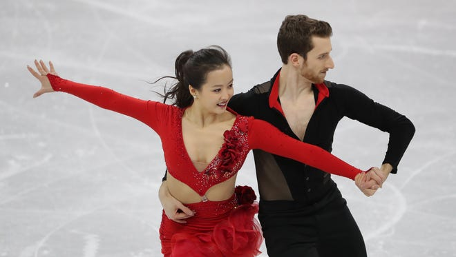 Yura Min and Alexander Gamelin (KOR) during the ice dance short dance team figure skating event during the Pyeongchang 2018 Olympic Winter Games at Gangneung Ice Arena.
