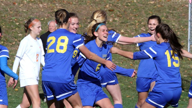 Mahopac defeated Horace Greeley on penalty kicks to win their Class AA girls soccer semifinal girls soccer game at Horace Greeley in Chappaqua Oct. 25, 2016.