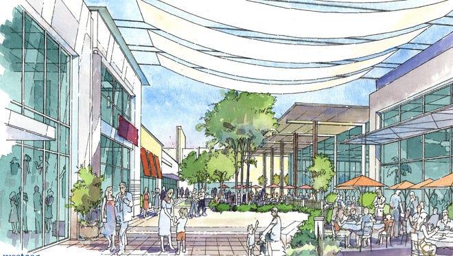 A rendering of Estrella Falls mall in Goodyear.