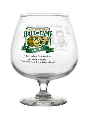 Green Bay Packers Hall of Fame brandy snifters will be for sale Aug. 8-9 during a tent sale at Stadium View Banquet Hall in Ashwaubenon.