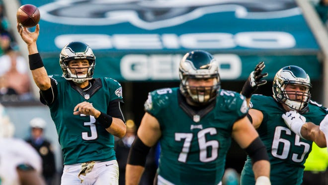Philadelphia Eagles quarterback Mark Sanchez delivers a pass in the third quarter of the Eagles 20-19 loss to the Dolphins in Philadelphia, Pa. on Sunday afternoon.