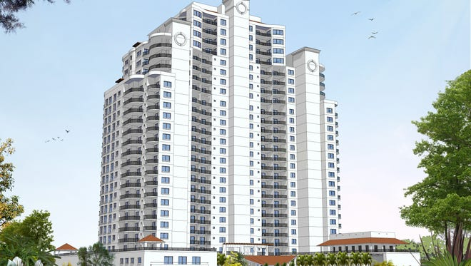 This is a an architectural drawing of a proposed high-rise condominium in Towers at Bonita Bay. Developer The Ronto Group intends to begin sales in October. It's the only condo skyscraper project in active development in Southwest Florida.